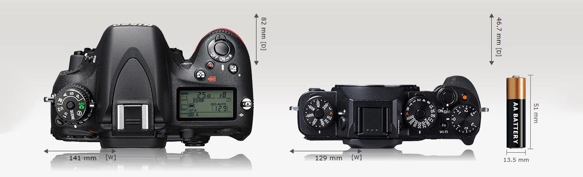 Сравнение размеров фотоаппаратов Nikon и Fujifilm