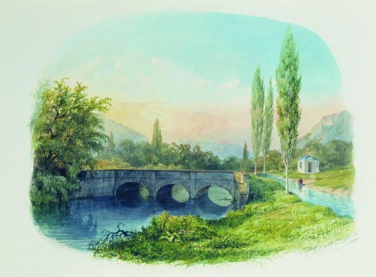 Чоргунский акведук. Лев Лагорио, 1850 год, акварель