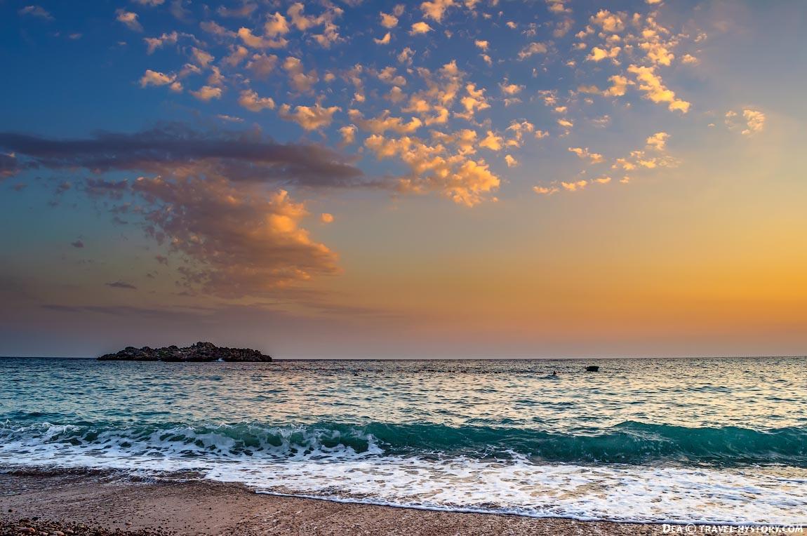 Пляж Свети Стефана. Закат